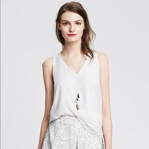 Banana Republic White Cross Back Crepe Tank